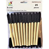 PANCLUB Foam Brush Value Pack 1 Inch - 25 Pack I with Wood Handles I Great for Art, Varnishes, Acrylics, Stains, Crafts