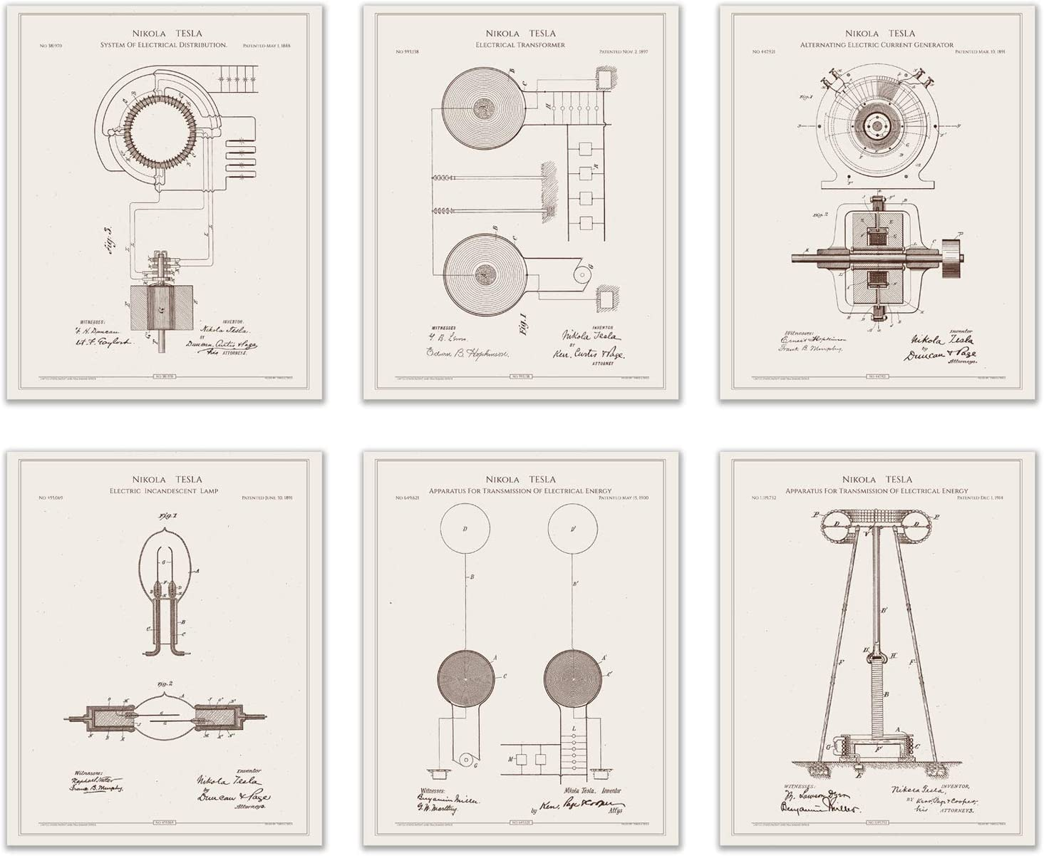 Nikola Tesla Patent Art Prints - Vintage Engineer Inventor Wall Decor Photos (Set of Six - 8 inches x 10 inches on matte fine art paper)