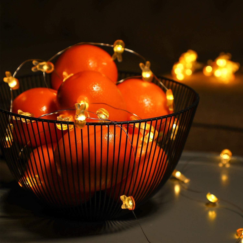DINOWIN Guirlande Lumineuse LED /à Piles 30 LED Lapin de P/âques D/écoration Aliment/é par batterie Lumi/ère Blanche
