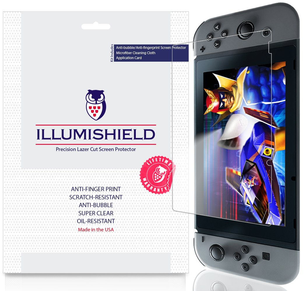 Nintendo Switch Screen Protector [3-Pack], iLLumiShield Screen Protector for Nintendo Switch Clear HD Shield with Anti-Bubble & Anti-Fingerprint Film