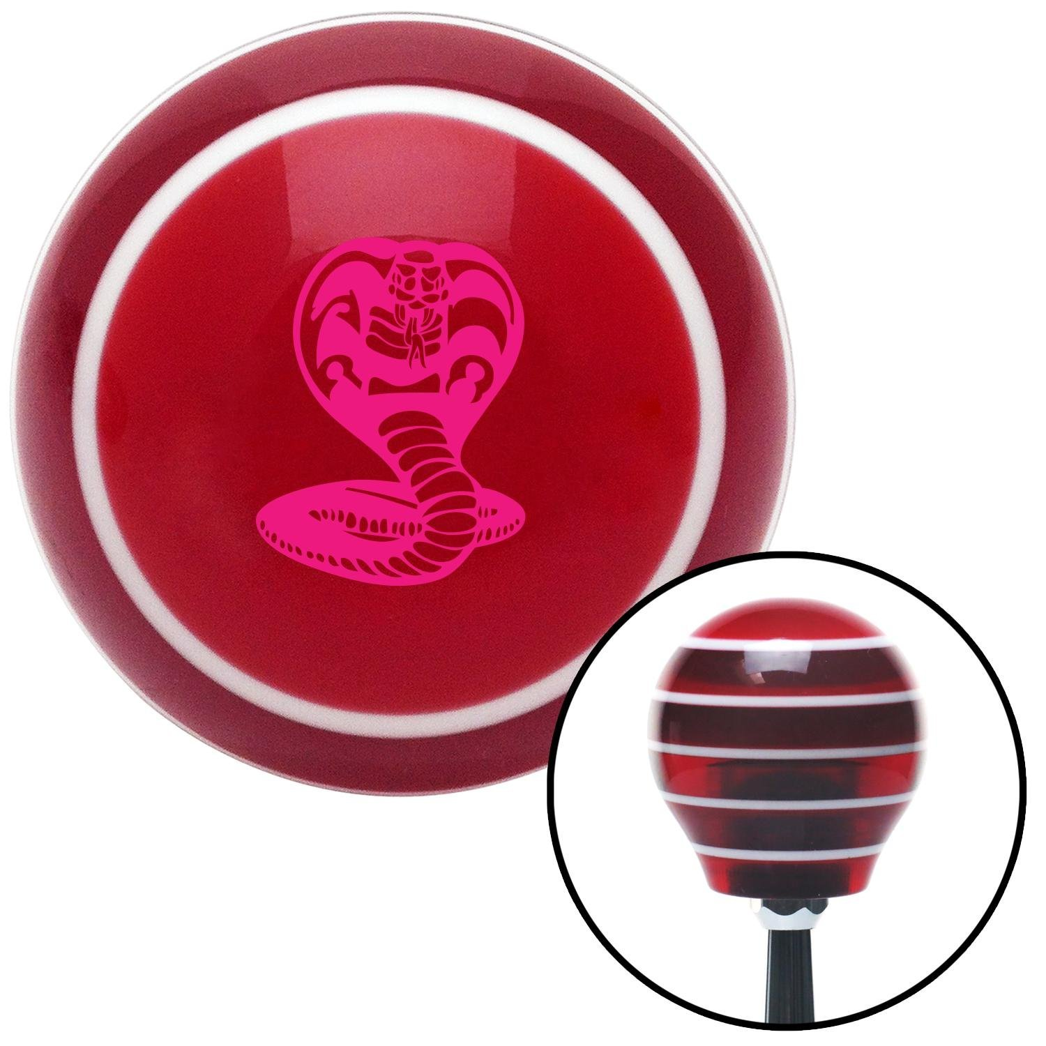 American Shifter 111629 Red Stripe Shift Knob with M16 x 1.5 Insert Pink King Cobra