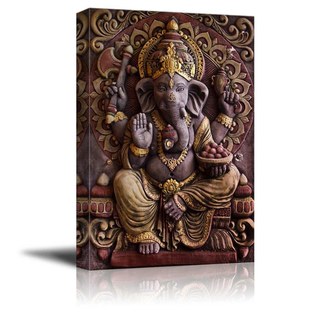 """wall26 - Sculpture of Gannesa Hindu God - Canvas Art Wall Decor - 24"""" x 36"""""""