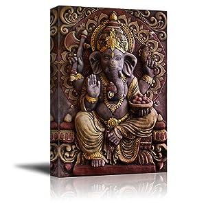 """wall26 - Sculpture of Gannesa Hindu God - Canvas Art Wall Decor - 16"""" x 24"""""""