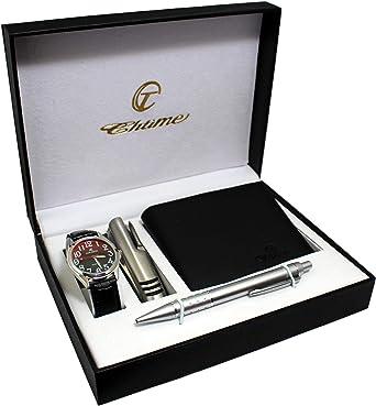 Estuche para reloj de hombre de piel, cartera, bolígrafo y cuchillo multifunción en caja de regalo: Amazon.es: Relojes