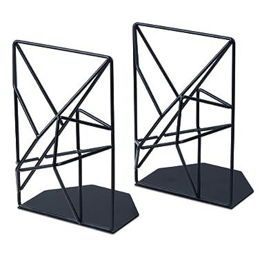 SRIWATANA Bookends Black, Decorative Metal Book Ends Supports for Shelves, Unique Geometric Design(1 Pair)