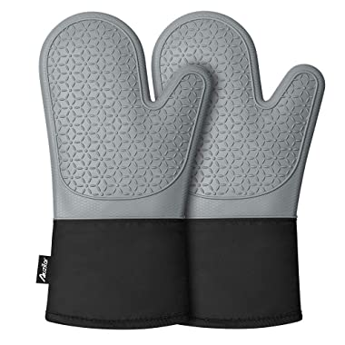 Auzilar Silicone Oven Mitts, Non-Slip Oven Hot Mitts, Long Kitchen Mitts, Professional Heat Resistant Kitchen Pot Holders, Oven Gloves with Quilted Cotton Lining - 1 Pair (Grey)