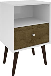 Manhattan Comfort Liberty Collection Mid Century Modern Nightstand With One Open Shelf and One Drawer, Splayed Legs, White/Wood