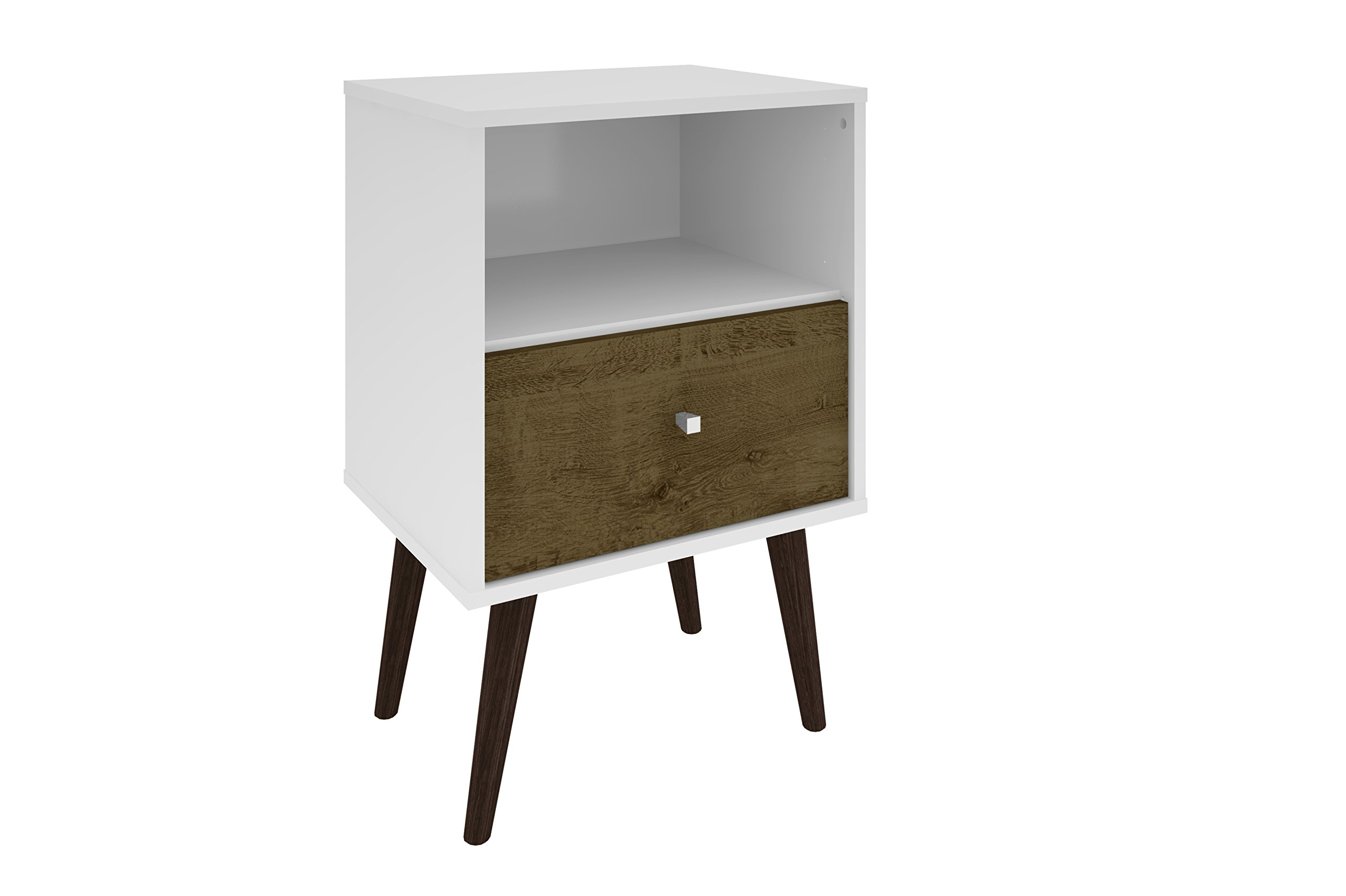 Manhattan Comfort Liberty Collection Mid Century Modern Nightstand With One Open Shelf and One Drawer, Splayed Legs, White/Wood by Manhattan Comfort