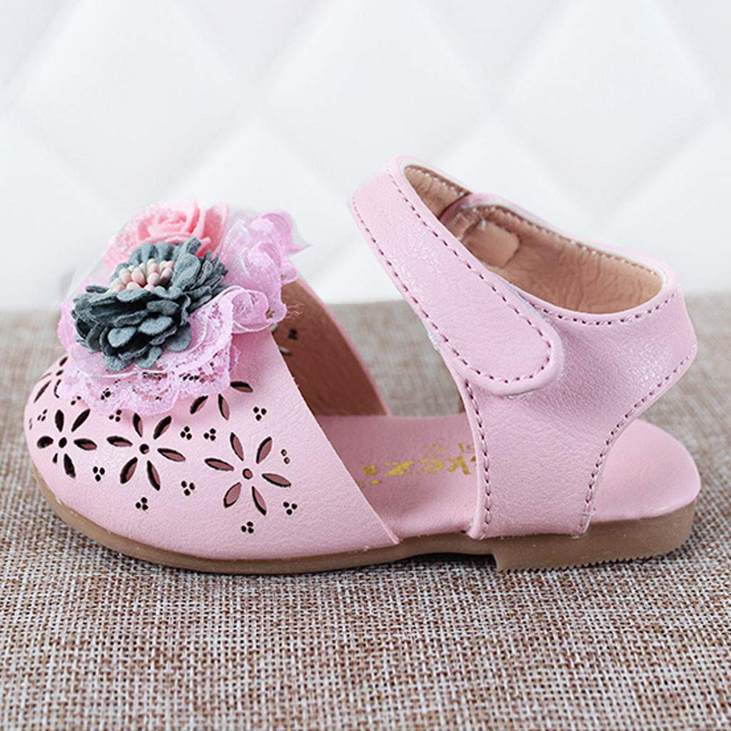 Cloudro Baby Shoes Little Girl Pearl Flower Hallow Out Flat Sandals Princess Shoes