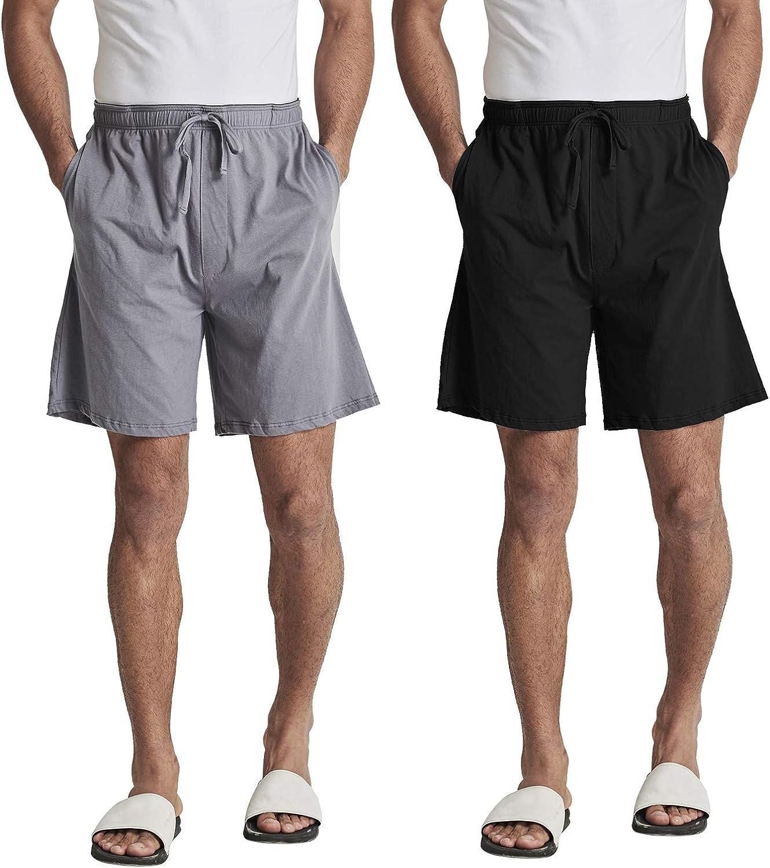 HOFISH Men's Lounge Pajama Shorts Comfy Sleepwear Bottom Shorts Underwear Home Casual Shorts Sleepwear 2 Pack with Pocket