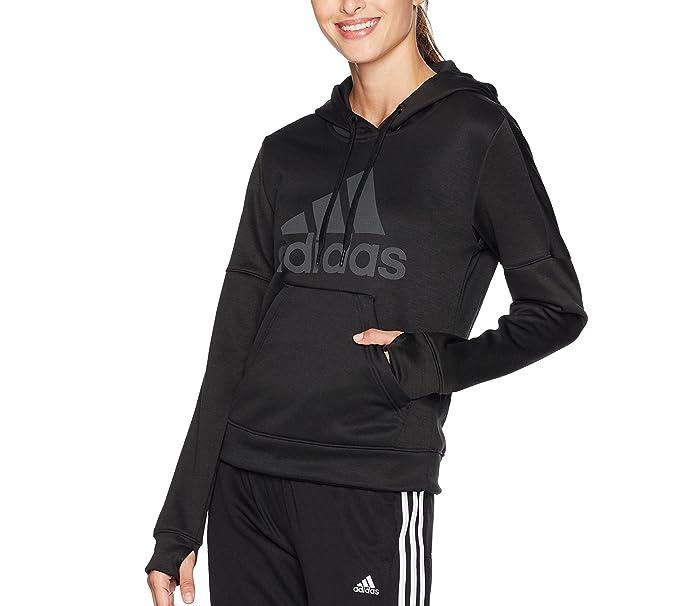6ce4f5dcd0e9 adidas Women's Team Issue Fleece Pullover Logo Hoodie, Black Melange/Black  Melange/Black
