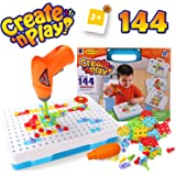 SYOSIN Toy Electric Drill Play Set Pegboard Creative Educational Construction Building Imagination Fine Motor Skills Toys Tool Kit DIY 3D Drill Blocks Puzzles for Kids