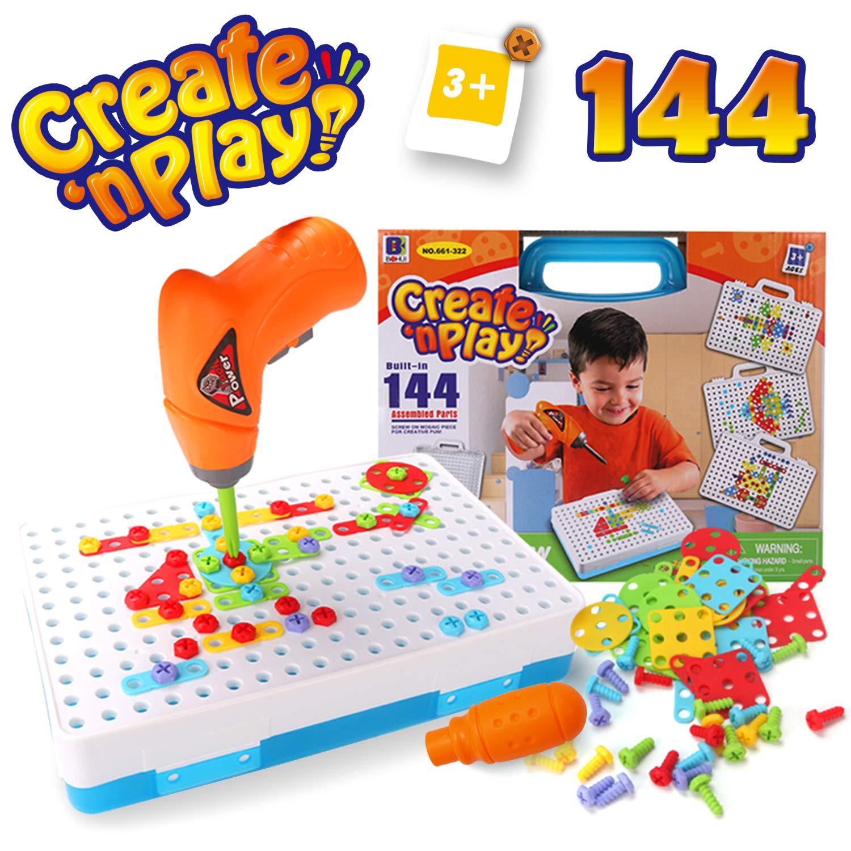 SYOSIN Taladro Juguete Desmontable Bricolaje Bloques Construccion con Motricidad Fina Destornillador Kit Mosaico Infantiles Juegos creativos
