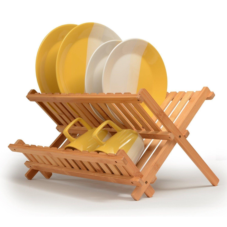 Bamboo Foldable Dish Rack / Drainer / Utensil Holder for Kitchen Decor