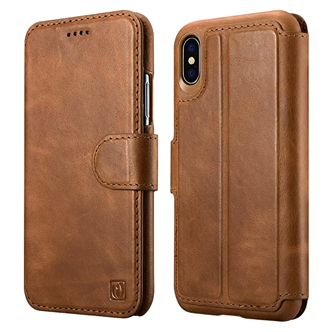 new products 8377d f77bb iPhone X Case, ICARER Detachable Genuine Leather Wallet Case [Detachable  Folio] Flip Folio Book Cover with Card&Cash Slots Kickstand Feature and ...