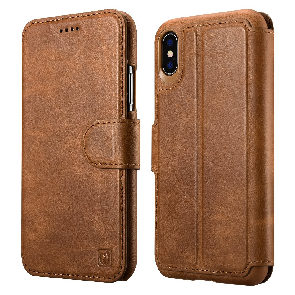iPhone X Case, ICARER Detachable Genuine Leather Wallet Case [Detachable Folio] Flip Folio Book Cover with Card&Cash Slots Kickstand Feature and Magnetic Closure for Apple iPhone X - Brown
