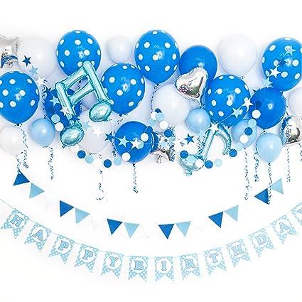 Amazon.com: riverbyland Mylar Globos de cumpleaños Set Azul ...