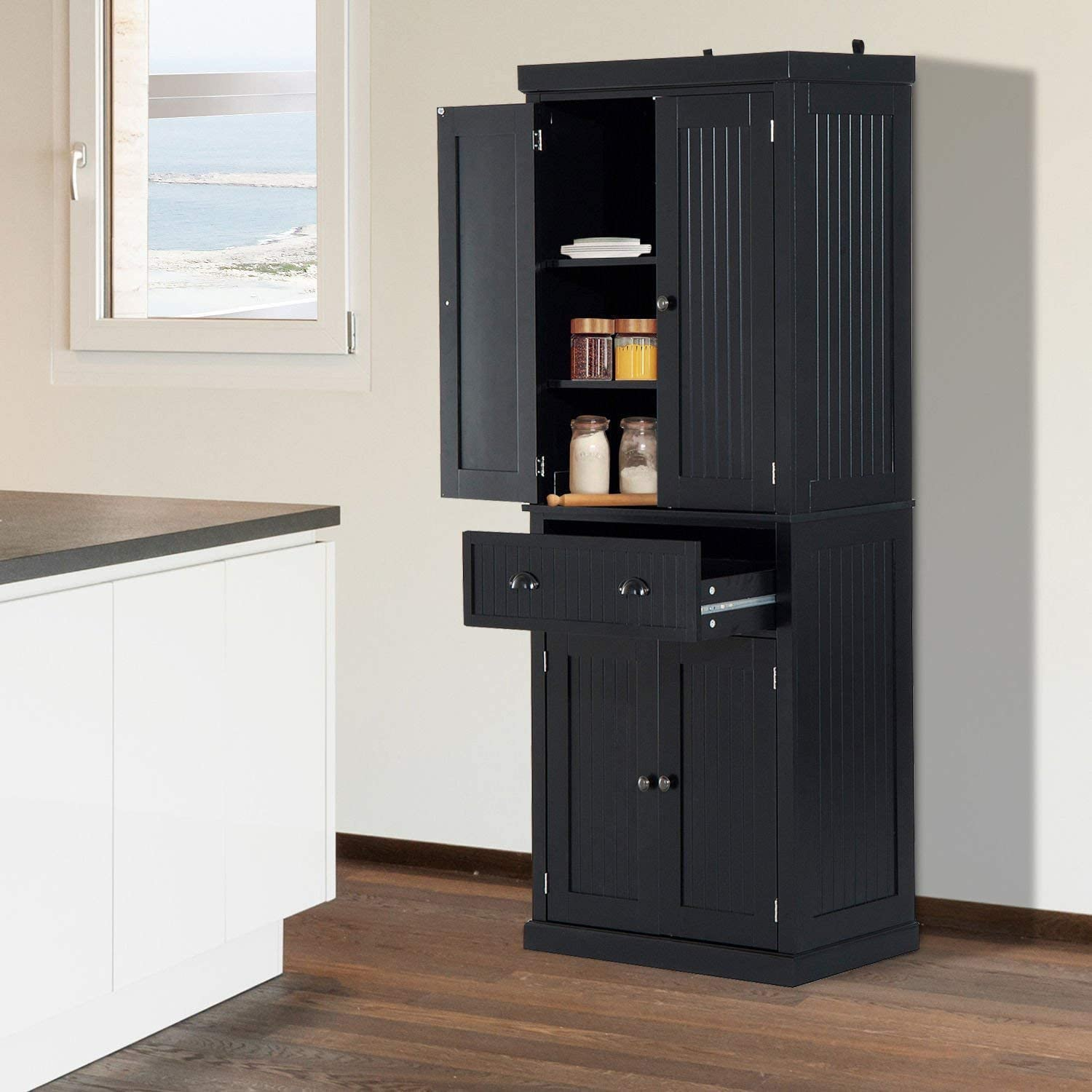 Festnight Tall Kitchen Pantry Storage Cabinet Traditional Standing Kitchen Pantry Cupboard Cabinet Black 72u201d  sc 1 st  Amazon.com : kitchen storage cabinets free standing - hauntedcathouse.org