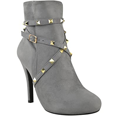 0132307f0d4a0 Fashion Thirsty New Womens Ladies Studded Ankle Boots Strappy High ...