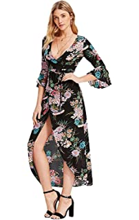 8f7303939c Milumia Women s Boho Deep V Neck Floral Chiffon Wrap Split Long Maxi Dress