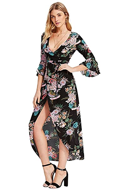 c3c5572c5f417 Milumia Women s Boho Deep V Neck Floral Chiffon Wrap Split Long Maxi Dress  Black-2