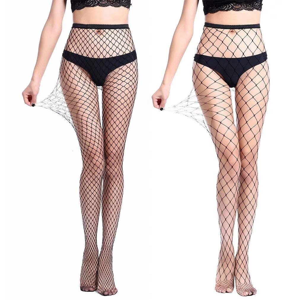 61df8e16614438 Charmnight Womens High Waist Tights Fishnet Stockings Thigh High Pantyhose  2 Pair(1) at Amazon Women's Clothing store: