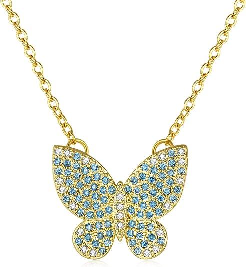 Papillon avec zircone cubique 14k or Jaune Charm-Mariposa 14k Pendentif en or