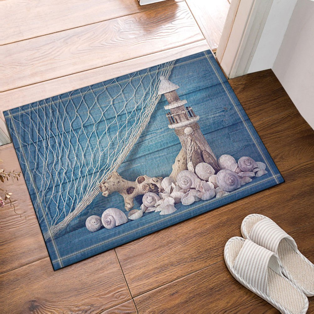GoEoo Blue Background Fishing Nets Wooden Lighthouses and Shells Bath Rugs Non-Slip Doormat Floor Entryways Outdoor Indoor Front Door Mat Kids Bath Mat 15.7x23.6in Bathroom Accessories
