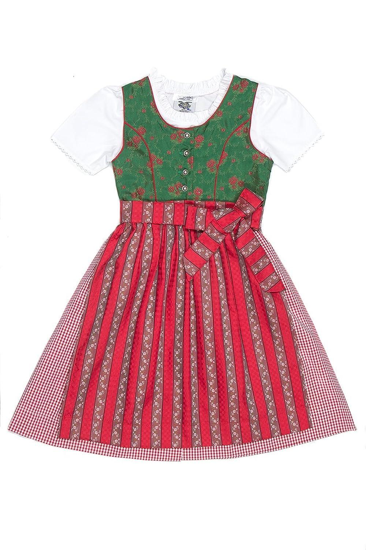 Isar Trachten Kinderdirndl Jasmin grün/rot K010011
