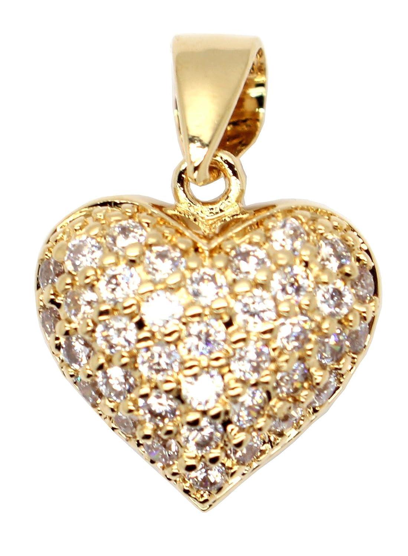 2 cm avec b/éli/ère Pendentif  Coeur  Plaqu/é Or 750//1000-5 Microns Femme garantie 10 ans et Oxyde de Zirconium Kala-isbijoux