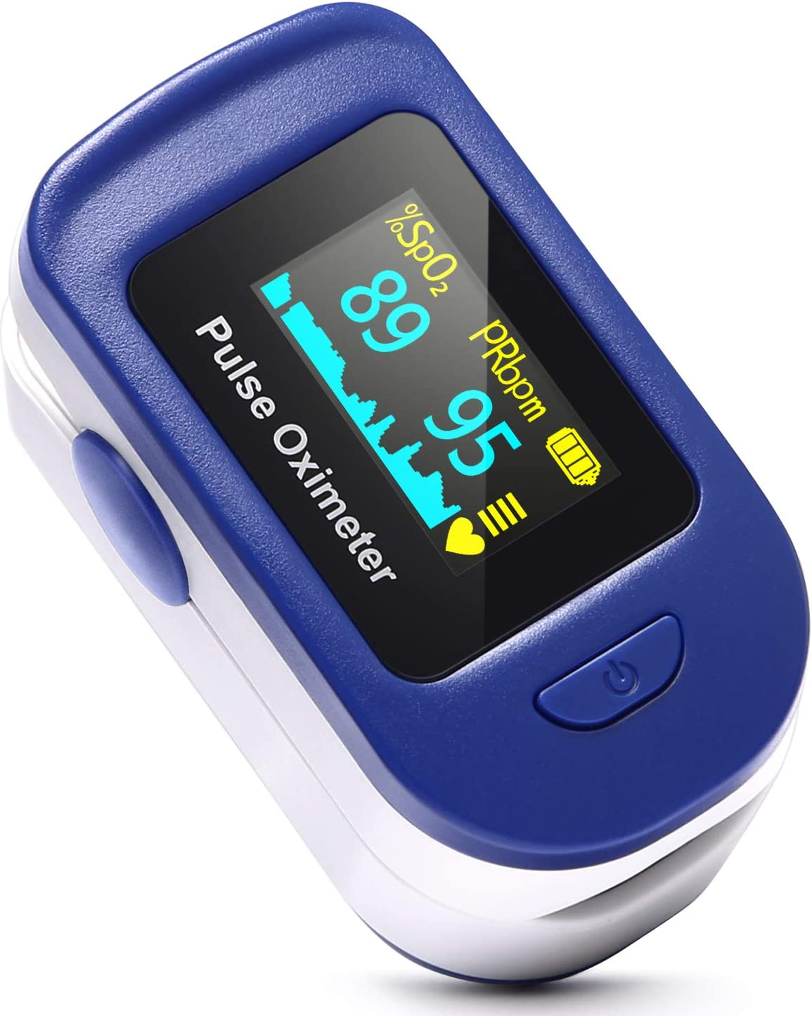 HOMIEE Oxímetro de Pulso, Pulsioxímetro de Dedo Profesional, Medidor de Oxígeno en Sangre SpO2 (Azúl)