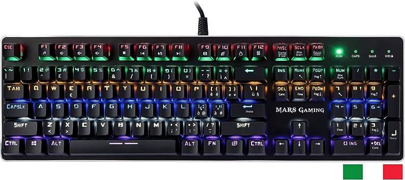 MARSGAMING MK4B - Teclado Gaming mecánico,RGB Flow,antighosting,Layout Italiano, azul