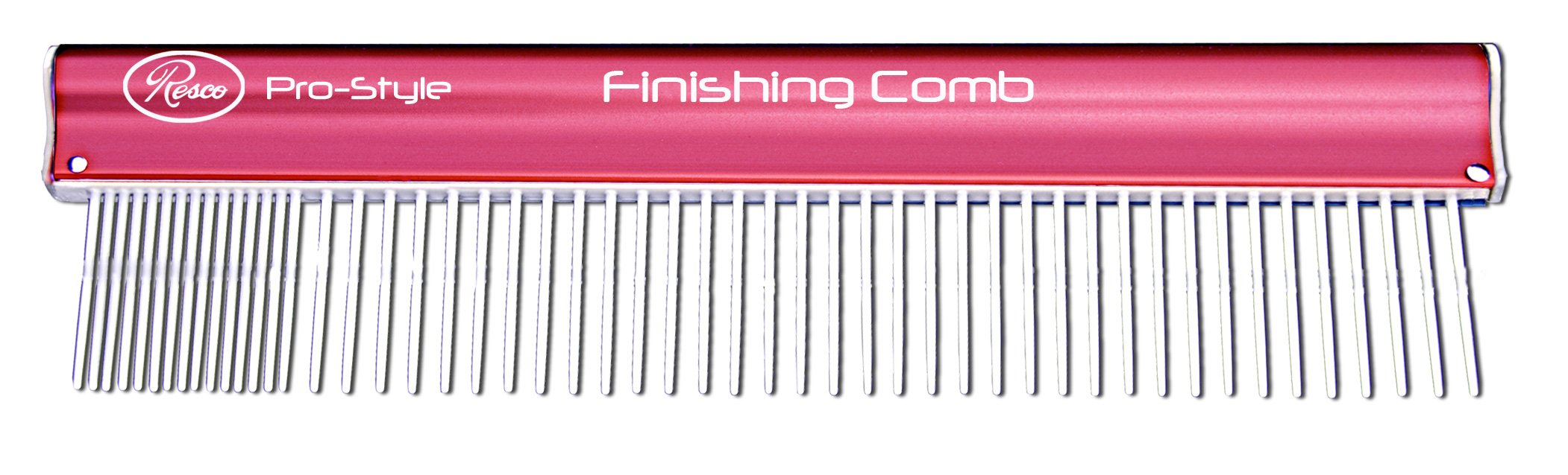 Resco Pro-Style 10'' Finishing Comb for Grooming Dogs, Cats, Horses, Pets, Coarse and Fine Tooth Spacing, Pink