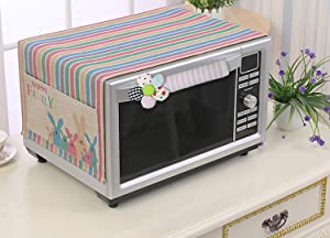 KEFAN Set of Microwave Dust Cover and Handle Cover, Fingerprint and Food Stains Protector for Toaster Broiler Oven Home Appliance (Rainbow Bunny+Pink)