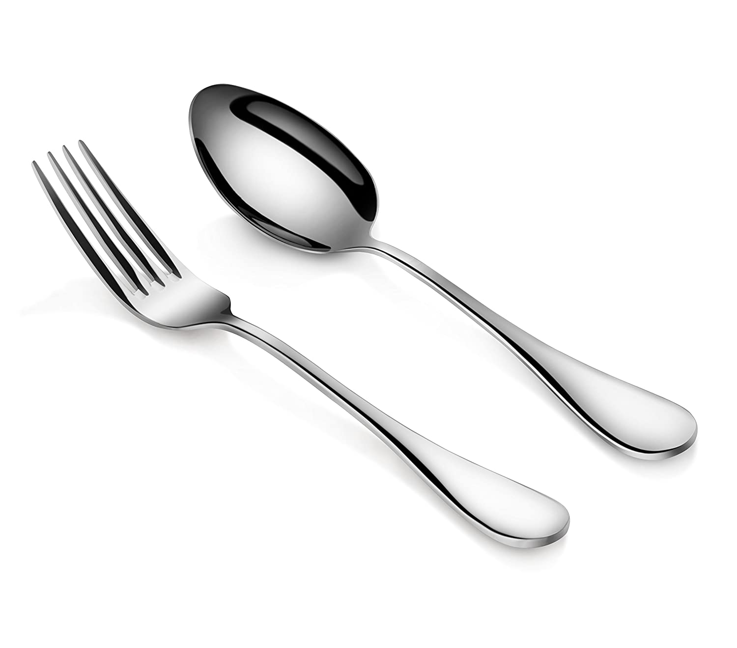 Artaste 56426 Rain 18/10 Stainless Steel Table Serving Spoons and Forks Set (Set of 6), Silver