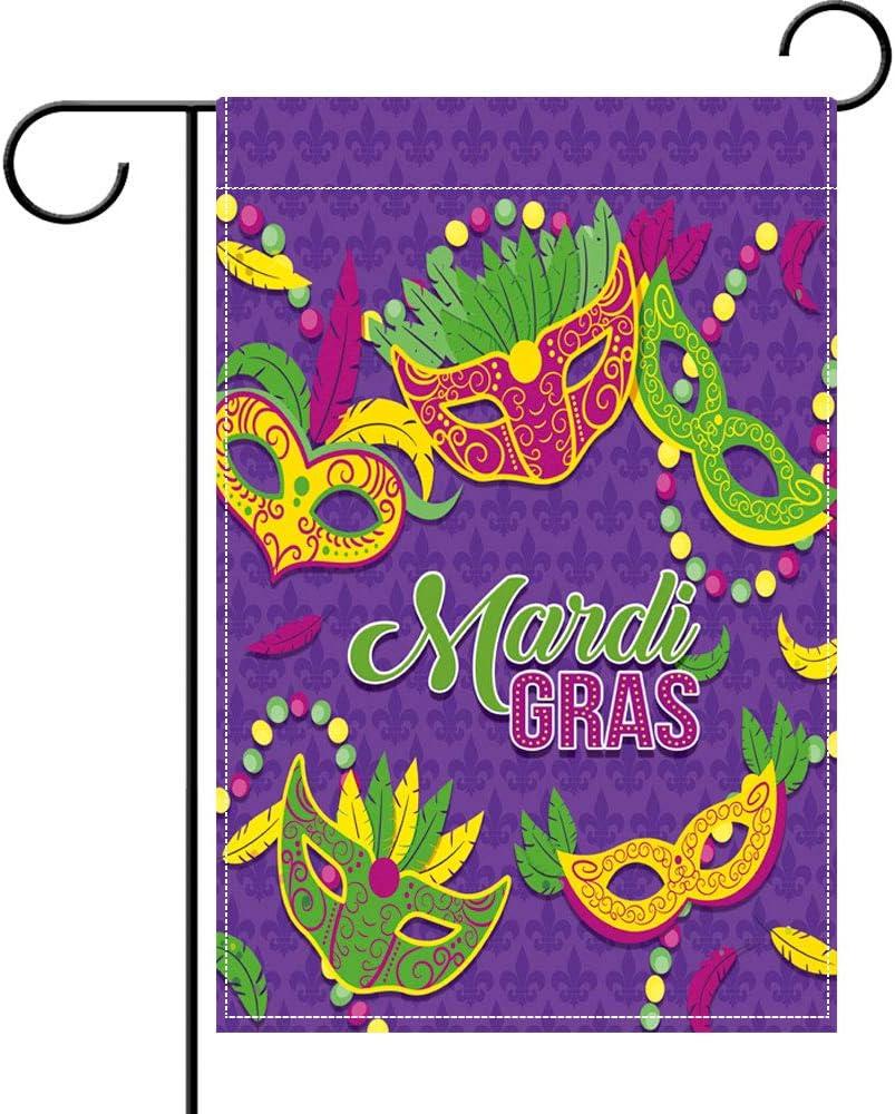 Mardi Gras Garden Flag Mardi Gras Welcome Banner for Indoor Outdoor Decoration Mardi Gras Beads Mask Door Banner Holiday Masquerade Party Supply Classic Design Purple Fleur De Lis, 17.7 x 11.8 Inch