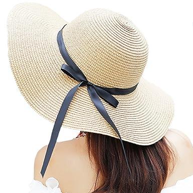 Itopfox Women s Big Brim Sun Hat Floppy Foldable Bowknot Straw Hat Summer  Beach Hat Beige ea798f12938f