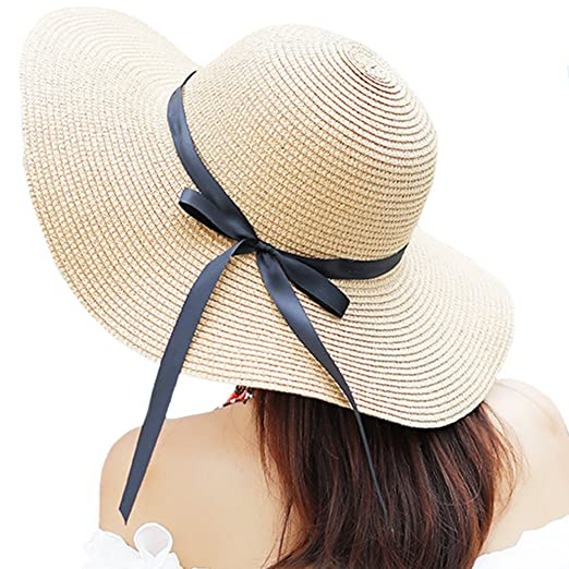 Itopfox Women s Big Brim Sun Hat Floppy Foldable Bowknot Straw Hat Summer  Beach Hat Beige 10426b26d704