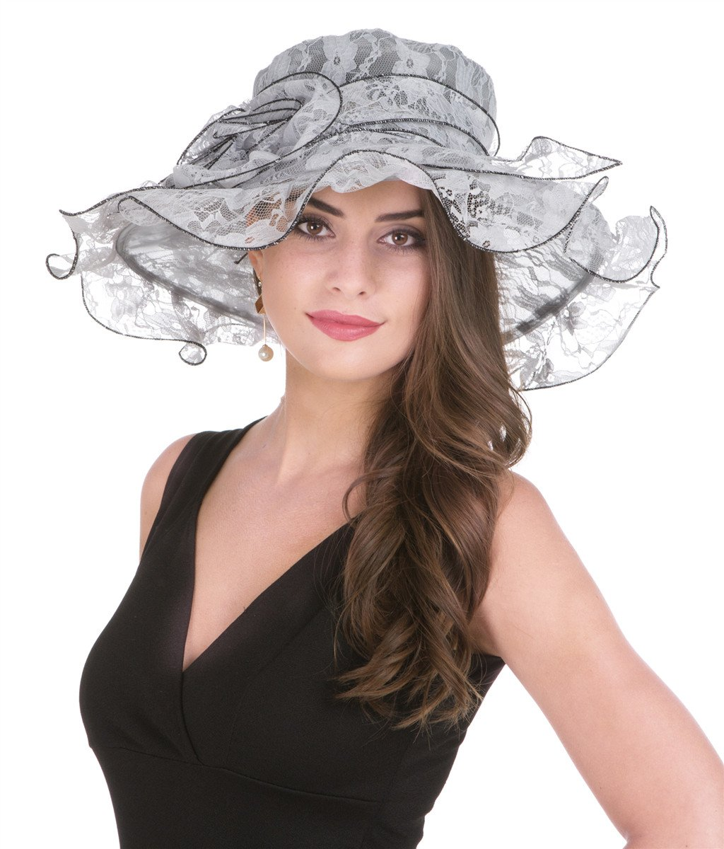 SAFERIN Lady Tea Party Kentucky Derby Church Wedding Dress Church Hat Bridal Shower(New-Grey Lace)