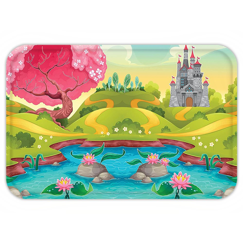VROSELV Custom Door MatKidFantasy Landscape Countryside Castle Pink Tree Colorful Cartoon Playroom Nursery Decor Multicolor