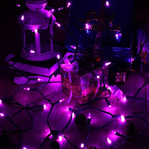 amazoncom brizled purple halloween lights 100 led 33ft halloween string lights 120v ul certified christmas lights connectable mini light for