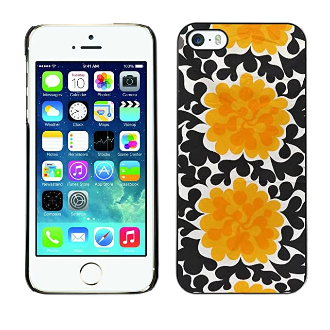 For Apple Iphone 5 Iphone 5s Case Flowers Black