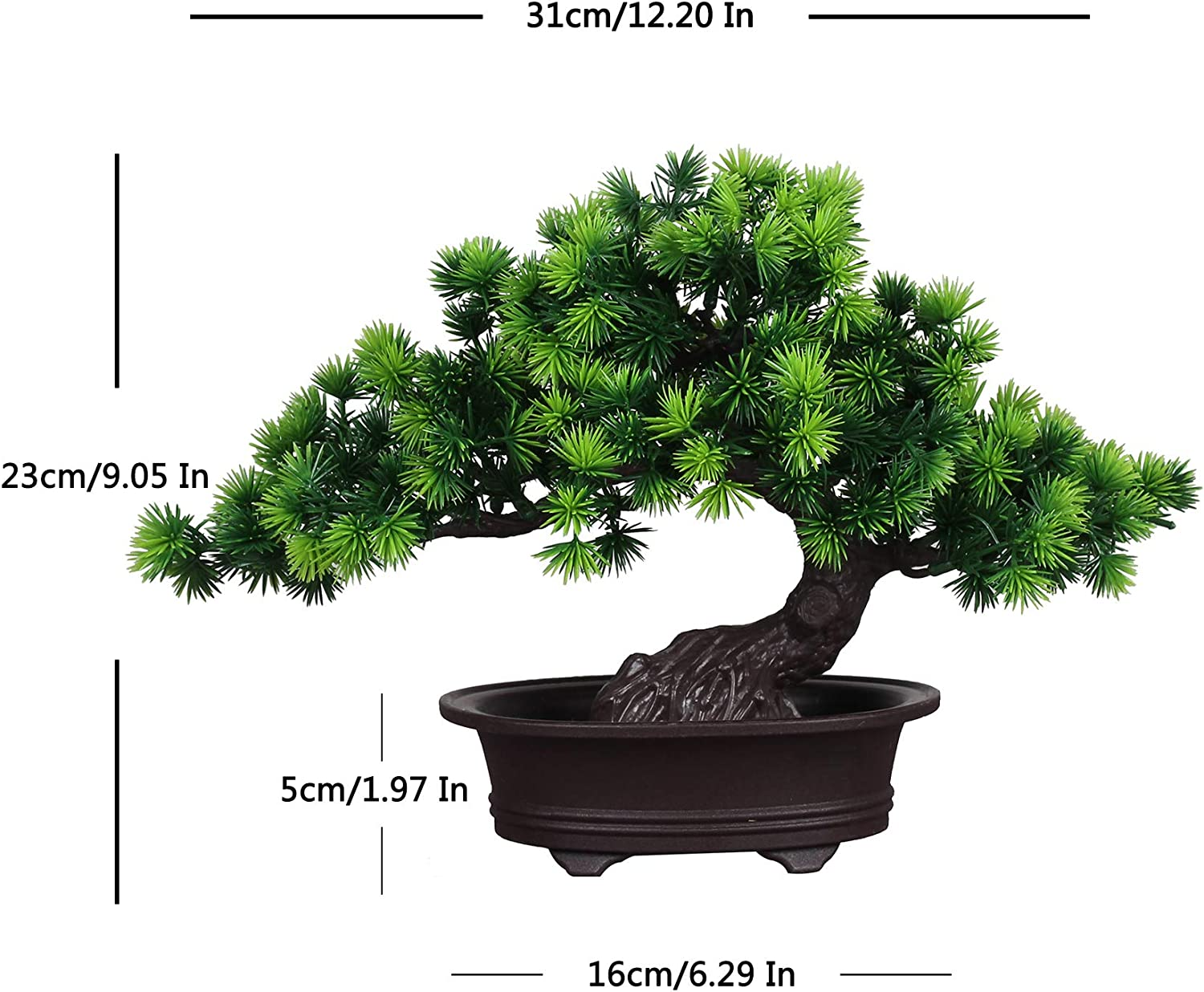 Artificial Bonsai Cedar Artificial Plant Bonsai Replica Artificial Bonsai Trees Plastic Bonsai Decor Bonsai Decoration For Office And Home 17 Amazon Co Uk Kitchen Home