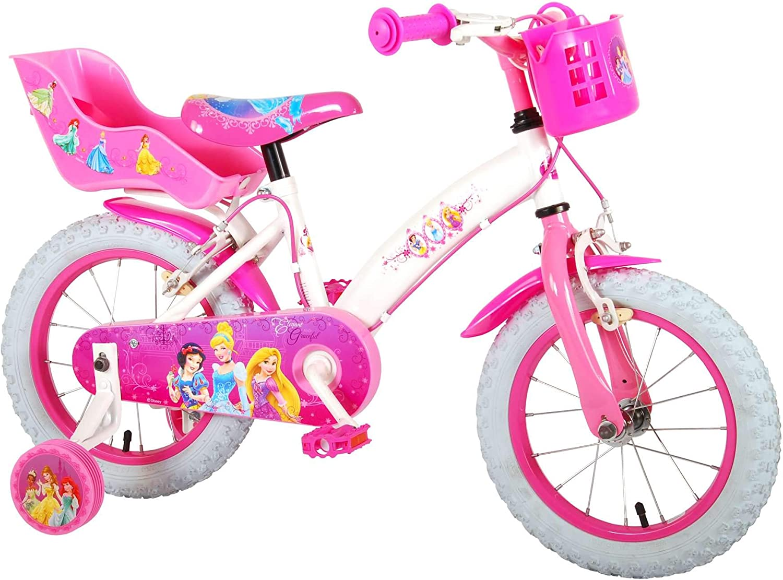 Disney Bicicleta Chica Princess 14 Pulgadas Frenos al Manillar Portamuñeca y Cesta Rosa Blanco