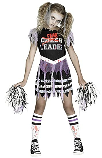 Fun World Girls Zombie Fearleader Costume Multicolor Large 12-14  sc 1 st  Amazon.com : halloween costumes for cheerleaders  - Germanpascual.Com