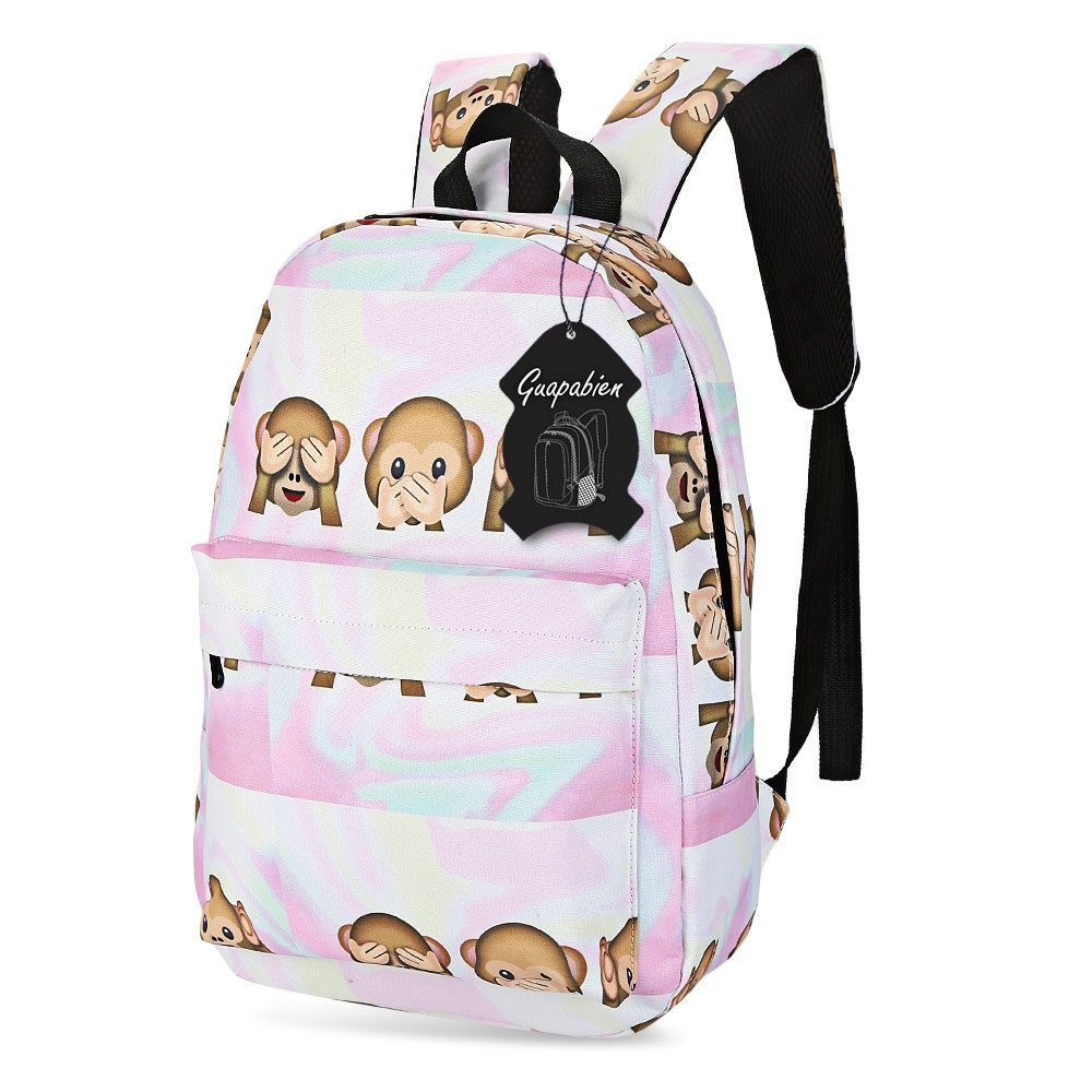 color:SAKURA PINK Accesorios para mochilas ZhangHongJ,Preppy Style Women Patterns Print Canvas School School Backpack Mochila