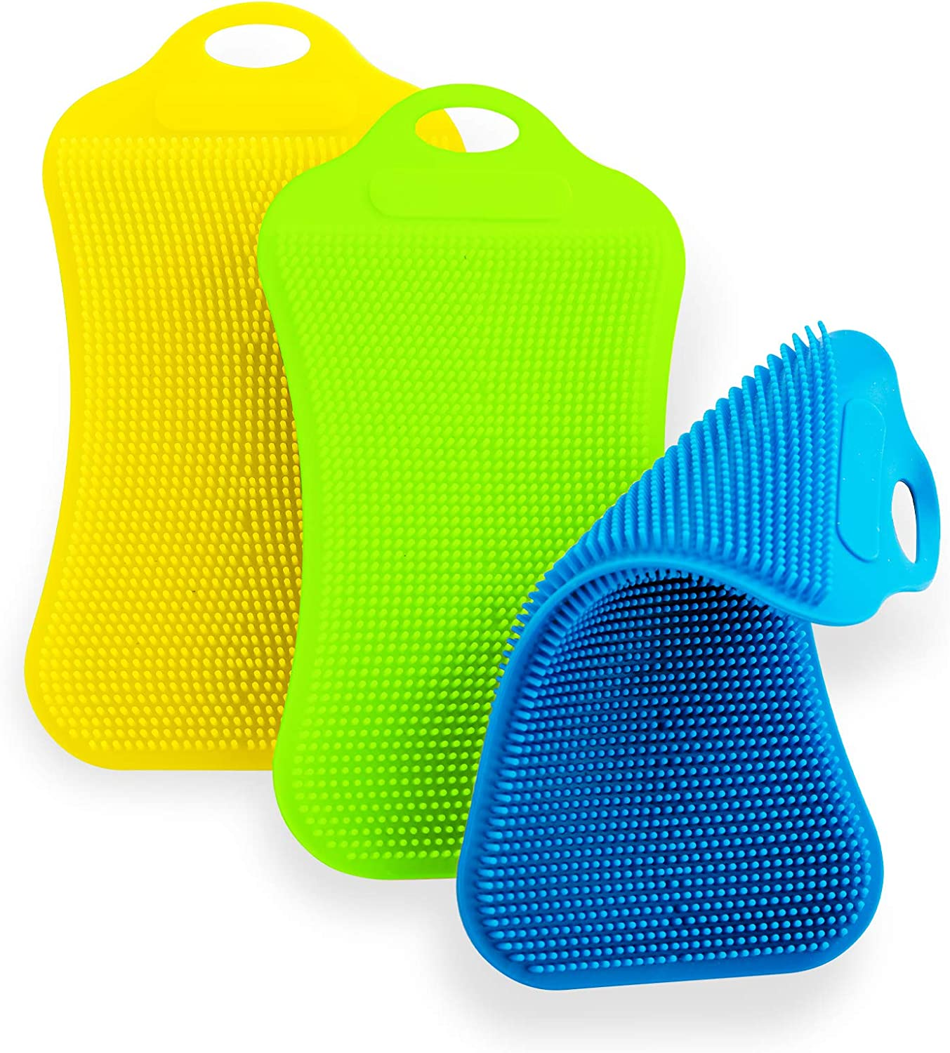 Silicone Sponges, Food-Grade Silicone Sponge, Double-Side Silicone Sponges for Dishes、Pots、Vegetables and Fruits, Reusable Cleaning Suppliers, BPA Free Premiul Kitchen Gadgets(3PACK)