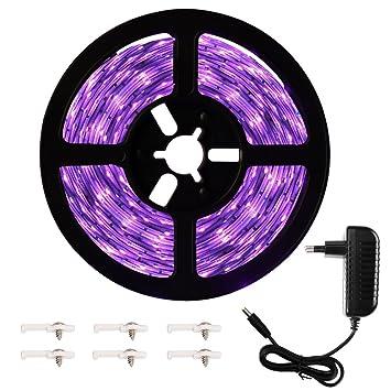 Onforu 5M UV Schwarzlicht LED Streifen mit Netzteil | UV LED Strip 300 LEDs Lichtband Leiste | Selbstklebend 2835 SMD LED Ban