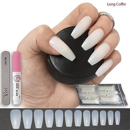 500 unidades de uñas postizas de coffin/bailarina, 12 tamaños, tamaño mediano, uñas naturales para uso en salón y bricolaje para uñas.