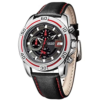 MEGIR Sport Designed Men Watches Leather Strap Quartz Wrist Watch Chronograph relojes hombre